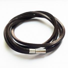 Leren wikkelarmband bruin - ca. 78cm lang