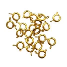 Karabijnslotje rond goud - ca. 10x7mm