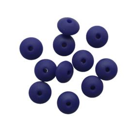 Siliconen disc marineblauw - ca. 12x5mm