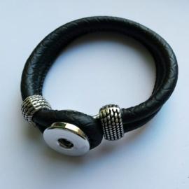 Imitatieleren armband zwart - ca. 19cm