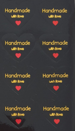 Stickervel Handmade with love - zwart