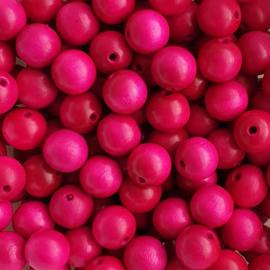 Houten kraal fuchsia roze - 12mm