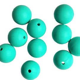Siliconen kraal rond turqoisegroen - 15mm