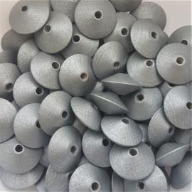 Houten kraal disc zilver - ca. 18x9mm