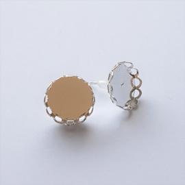 Oorstekers silver plated bewerkt met setting voor cabochons 12mm