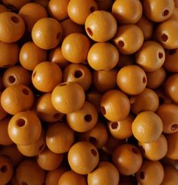 Houten kraal cognac - ca. 10mm