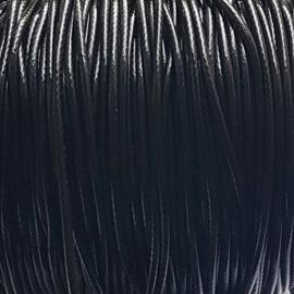 Waxkoord glanzend zwart - 2mm