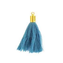 Kwastje haze blue met goud kapje - ca. 32mm