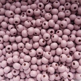 Houten kraaltje lilac rose - ca. 6mm