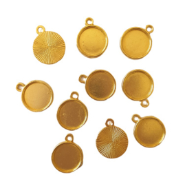 Hanger / bedel goud voor cabochon van 12mm