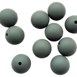 Siliconen kraal rond donkergrijs - 15mm