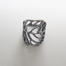 Ring blad antiek zilverkleur - ringmaat 16mm