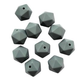 Siliconen kraal geometrisch donkergrijs - ca. 15mm