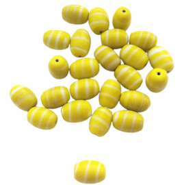 Kraal ovaal geel met witte strepen - ca. 10x14mm