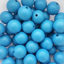 Houten kraal blauw - 16mm