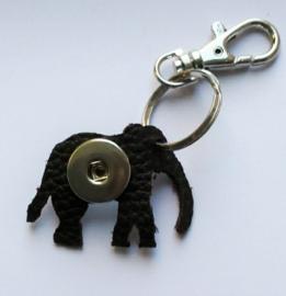 Sleutelhanger bruin leren olifant