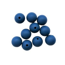 Siliconen kraal rond donkerblauw - 12mm