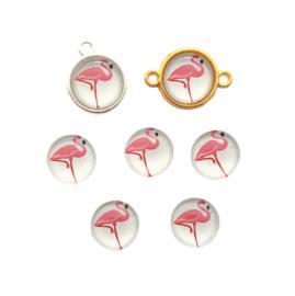 Glascabochon flamingo wit