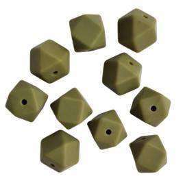 Siliconen kraal hexagon legergroen - ca. 14mm