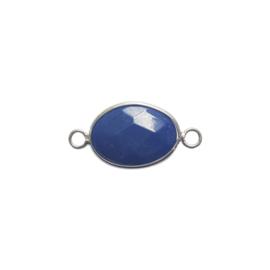 Tussenstuk edelsteen jade blauw/zilver - ca. 16x32mm