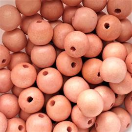 Houten kraal perzikroze - 12mm