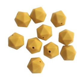 Siliconen kraal geometrisch mosterd - ca. 15mm