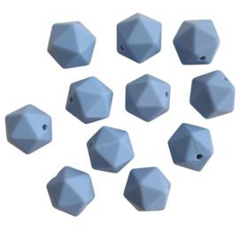 Siliconen kraal geometrisch poederblauw - ca. 15mm