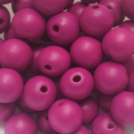 Houten kraal fuchsia purper - 16mm