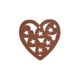 Houten hanger hart bruin