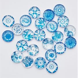 Glascabochon mix wit-blauw