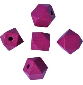 Houten kraal hexagon purperroze - 15mm