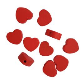 Houten kraal hartje rood