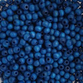 Houten kraaltje klassiek blauw - ca. 4mm