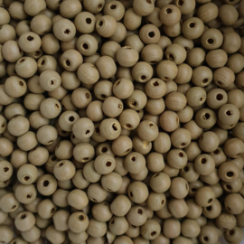 Houten kraaltje ceder beige - ca. 6mm