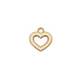 Bedel open hart off white - ca. 14x15mm