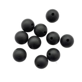 Siliconen kraal rond zwart - ca. 12mm