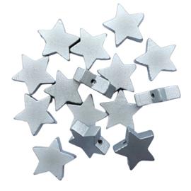 Houten kraal ster zilver