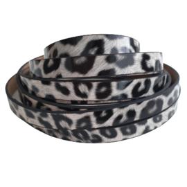 Plat imi leer luipaardprint zwart/wit