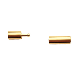 Goudkleurig pin-hole slot voor 3mm leer/koord