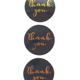 Sticker thank you zwart/goud