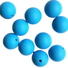 Siliconen kraal rond helderblauw - 15mm