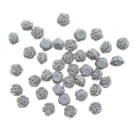 Resin roosje grijs