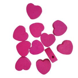 Houten kraal hartje roze