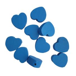 Houten kraal hartje blauw
