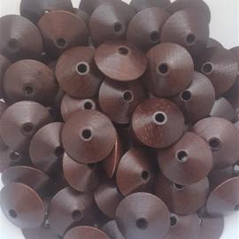 Houten kraal disc bruin - ca. 18x9mm