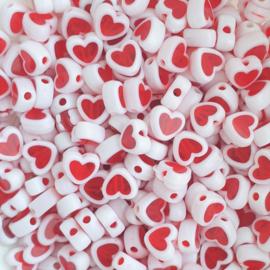 Acryl kraal hartvorm rood