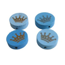 Houten schijfkraal kroon mix blauw