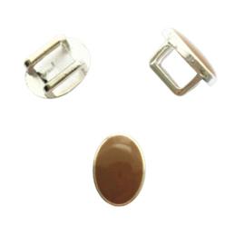 Schuiver ovaal voor leer en koord zilver / bruin