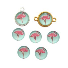Glascabochon flamingo pepermunt