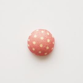 Stoffen cabochon dots oudroze - ca. 15mm